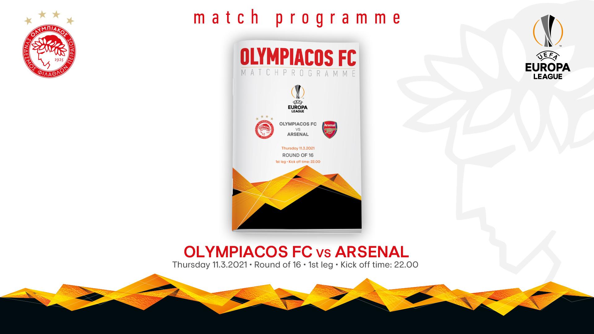 Το Match Programme του αγώνα Ολυμπιακός-Άρσεναλ